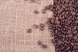 coffee beans on jute
