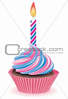 blue and pink cupcake