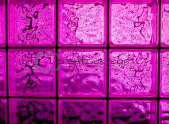 Abstract of a Pink-tone Glass Block Window Frame