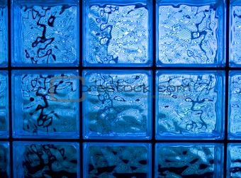 Abstract of a Blue-tone Glass Block Window Frame