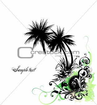 Palm and grunge floral background. Vector