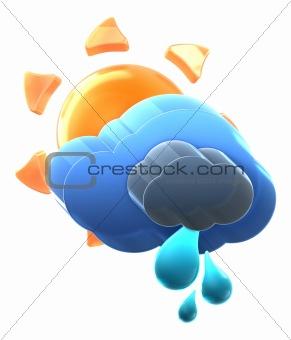 Sun and cloud with medium rain.