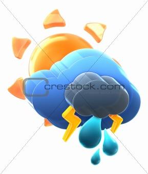 Sun and cloud with thunder rain.