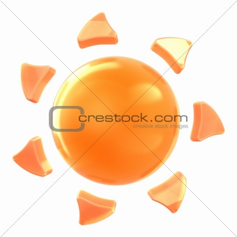 Sun on isolated background.