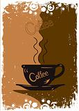 Grungy coffee background. Vector