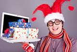 Funny men in christmas cap with gift boxes and notebook. 