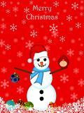Christmas Snowman Hanging Ornament and Red Cardinal Bird