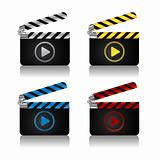 Movie clapper board icons