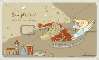 Santa Claus and a angel in a sleigh. postcard