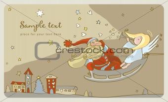 Santa Claus and a angel in a sleigh. postcard
