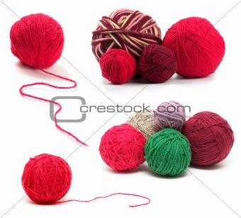 Colored wool clews set
