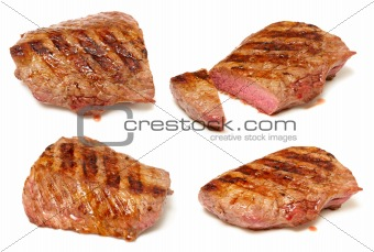 Grilled beef steaks set