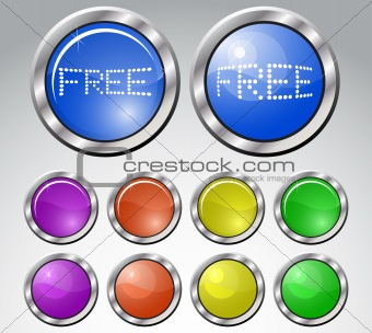 Set of multicolored glasses round buttons