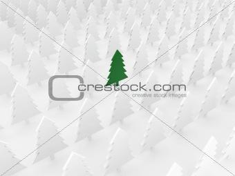 green tree among white pines