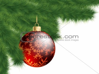 Christmas-tree and decoration ball. EPS 8