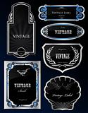Set Decorative black silver frames labels . Vector