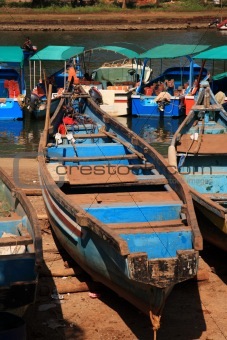 Blue boats Goa India