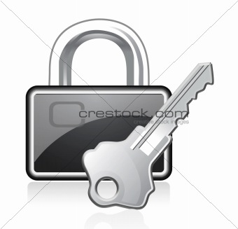 Vector padlock and key