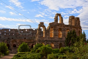 Ancient Roman amphitheater in El Jem, Tunisia