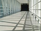 Covered Skywalk Tunnel with the Sun Shining