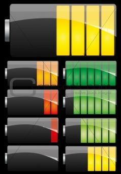 Battery set on black background