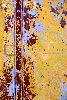 old rusty iron surface with paint stripped