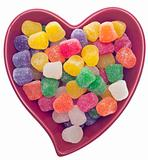 Candy Spice Drops in a Red Heart Shaped Bowl