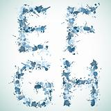 alphabet water drop EFGH