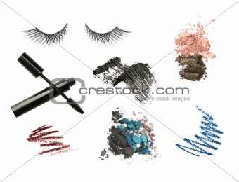 Cosmetic products isolated on white background