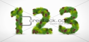 123, vector christmas tree font
