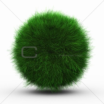3d render of green grass ball