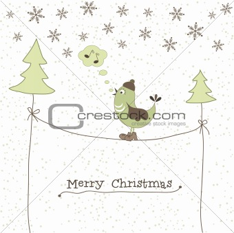 Christmas card with singing bird, vector