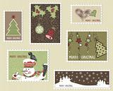 Christmas stamps, vector