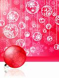 Pink christmas card with baubles . EPS 8