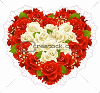 Bunch roses in the shape of heart