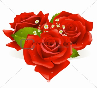 Three roses in the shape of heart