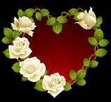 Framework from white roses in the shape of heart