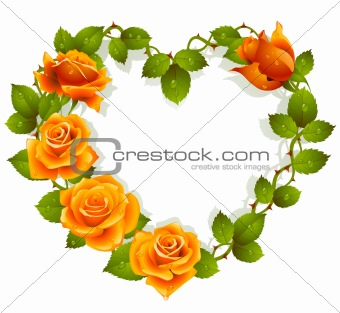 Framework from orange roses in the shape of heart