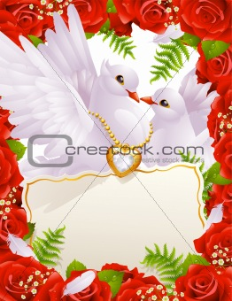 Greeting card with doves