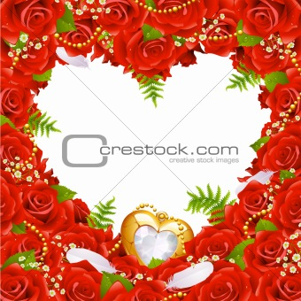 Greeting card with roses, feathers and jewelry in the shape of heart