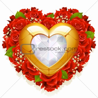 Roses and jewelry in the shape of heart