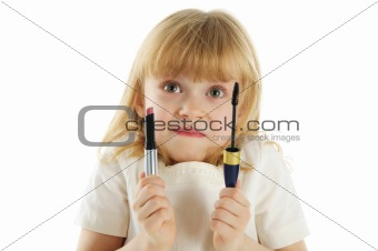 Beautiful girl with mascara and lipstick