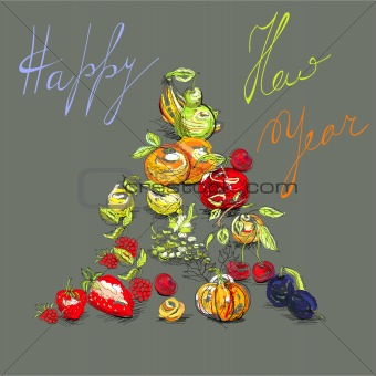 Greeting card with fruit