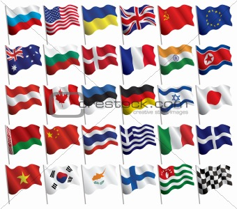 Set of flags with waves and gradients