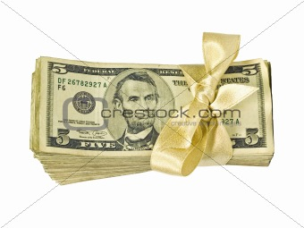 Money Bundle in a Gold Ribbon $5 Bills