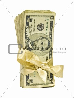 Money Bundle in a Gold Ribbon $5 Bills