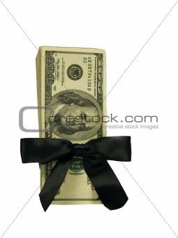 Money Bundle in a Black Ribbon $100 Bills