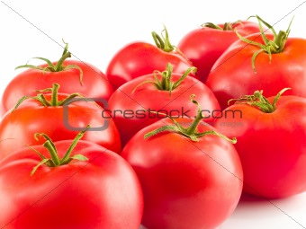 A Bunch of Red Ripe Tomatoes Isolated on White