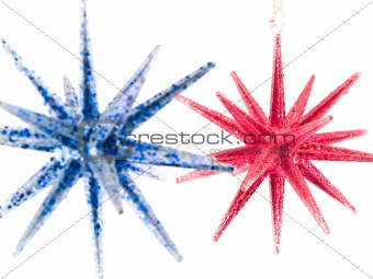 Blue and Red Christmas Tree Star Ornaments