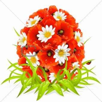 Vector spring flowers in the shape of Easter egg